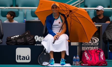 GUARDIAN TENNIS: Ashleigh Barty shrugs off inclement weather to storm into Miami final